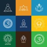 导航瑜伽象&圆的线徽章-图形设计元素 免版税库存图片