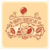 导航生日快乐与逗人喜爱的玩具熊和玩具的贺卡 背景卡片设计问候邀请页模板普遍性万维网 库存图片