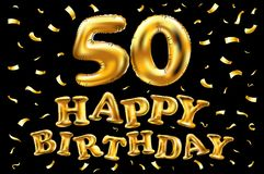 导航生日快乐第50个庆祝金气球和金黄五彩纸屑闪烁 3d您的贺卡的例证设计, 皇族释放例证