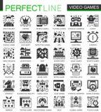 导航电子游戏经典黑微型概念象和infographic符号集 库存照片