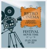 导航电影与老电影摄影机的节日海报 免版税图库摄影