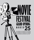 导航电影与老电影摄影机的节日海报 库存例证