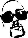 导航男性面孔的图象与玻璃的和胡子和髭 免版税库存照片