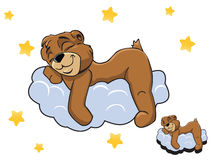 导航睡觉在云彩的动画片颜色逗人喜爱的玩具熊 免版税库存图片