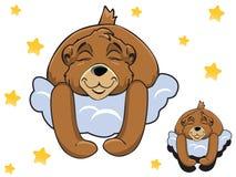 导航睡觉在云彩的动画片颜色逗人喜爱的玩具熊 免版税库存照片