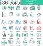 导航秀丽化妆用品平的线apps和网络设计的概述象 秀丽化妆用品工具象 免版税图库摄影