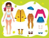 导航秋天青少年的女孩的衣橱衣物的五颜六色的例证 皇族释放例证