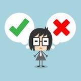 导航站立与讲话泡影的商人,做出在正确或错误之间的决定用检查号和发怒标志代表 库存图片