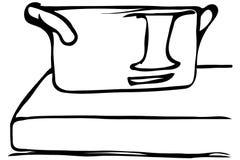 导航站立在边缘的大平底深锅的剪影 图库摄影