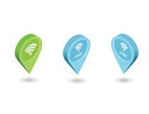 导航等量坐与自由Wi-Fi标志的地图尖 免版税图库摄影