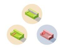 导航等量绿色和桃红色沙发位子长沙发, 3d平的室内设计元素 库存例证