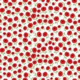 导航红色与手拉的花的鸦片花无缝的样式背景 免版税库存图片
