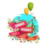 导航红色丝带的例证与暑假标题的 库存图片