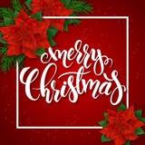 导航红色圣诞节贺卡的例证与长方形框架、一品红花和手字法标签的- 图库摄影