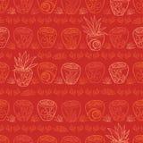 导航红色盆的植物热带海滩胜地重复样式 适用于缎带包装、纺织品和墙纸 库存例证