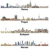 导航维也纳、布拉格、布达佩斯和华沙城市地平线  库存例证