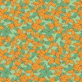 导航绿色和橙色手拉的叶子重复样式 适用于缎带包装、纺织品和墙纸 库存例证