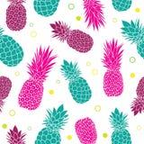 导航绿色桃红色菠萝夏天五颜六色的热带无缝的样式背景 伟大作为纺织品印刷品,党 库存例证