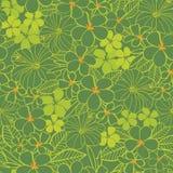 导航绿色热带花木槿和赤素馨花无缝的样式背景 为织品完善,scrapbooking,墙纸 库存例证