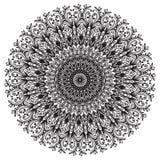 导航美丽的Deco黑色坛场,被仿造的设计元素,种族护身符,圆的花卉主题样式 库存图片