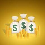 导航美元与堆的金钱袋子硬币 免版税库存图片