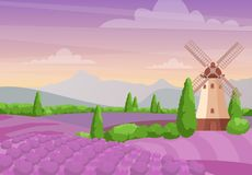 导航美好的五颜六色的风景的例证与风车的在淡紫色领域 淡紫色风景与 向量例证