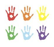 导航背景,手的彩色印刷品象征友谊 在油漆的色的棕榈 向量例证