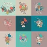 导航花花束,汇集,植物和花卉decorati 库存例证