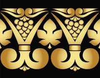 导航葡萄和叶子的金黄样式在黑背景 无缝的模式 皇族释放例证