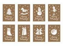 导航葡萄酒圣诞节和新年纸板标记标签 免版税库存图片