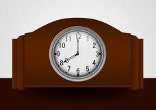导航葡萄酒木时钟的例证在白色背景的 向量例证