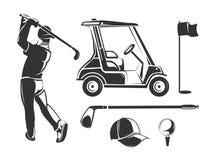 导航葡萄酒标签、象征、徽章和商标的高尔夫球元素 库存图片