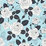 导航葡萄酒淡色蓝色,黑和白玫瑰和叶子无缝的重复样式 伟大为减速火箭的织品,墙纸 免版税库存照片