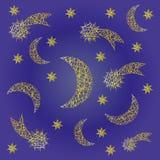 导航蓝色与不规则的黄色概略彗星、月亮和星的夜欢乐样式背景 免版税库存图片