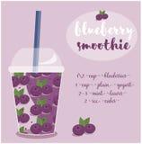 导航蓝莓与成份的圆滑的人食谱的例证 库存图片