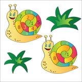 导航蜗牛的例证-孩子的一个难题 免版税库存图片