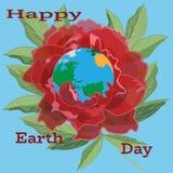 导航行星地球的例证在开花的牡丹的,平的样式 免版税库存图片