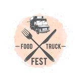 导航街道食物卡车图表徽章的例证 库存照片