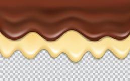 导航被隔绝的流动的可口巧克力和香草奶油  皇族释放例证
