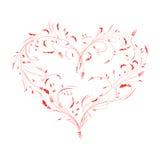 导航被隔绝的花卉红色华伦泰心脏的例证 免版税库存图片