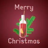 导航被仔细考虑的酒的例证在一个瓶的有圣诞节的gr 免版税库存照片