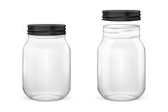 导航装和保存的集合于罐中现实空的玻璃瓶子与黑盒盖-开放和闭合-被隔绝的特写镜头  皇族释放例证