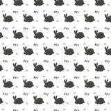 导航装饰品样式的样式用白色兔子野兔和白色信件和白色心脏字体兔宝宝保护动物在黑暗的g 向量例证