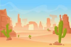 导航西得克萨斯或墨西哥沙漠剪影的动画片例证 狂放的西部美国西部场面与 免版税库存图片
