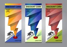 导航设计在三种不同颜色的横幅背景 贴现看板卡 免版税图库摄影
