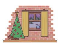导航象有美丽的毛皮树的圣诞节室在平的线型例证 库存例证