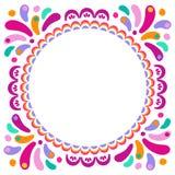 导航贺卡的明亮的五颜六色的圆的框架 carnaval节日的,庆祝装饰种族装饰品 库存例证