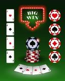 导航赌博娱乐场纸牌筹码,设计背景的,卡片,商标模板 向量例证