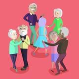 导航跳舞在党的老年人的例证 免版税库存照片