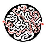 导航迷宫,圆的迷宫例证用解答 图库摄影